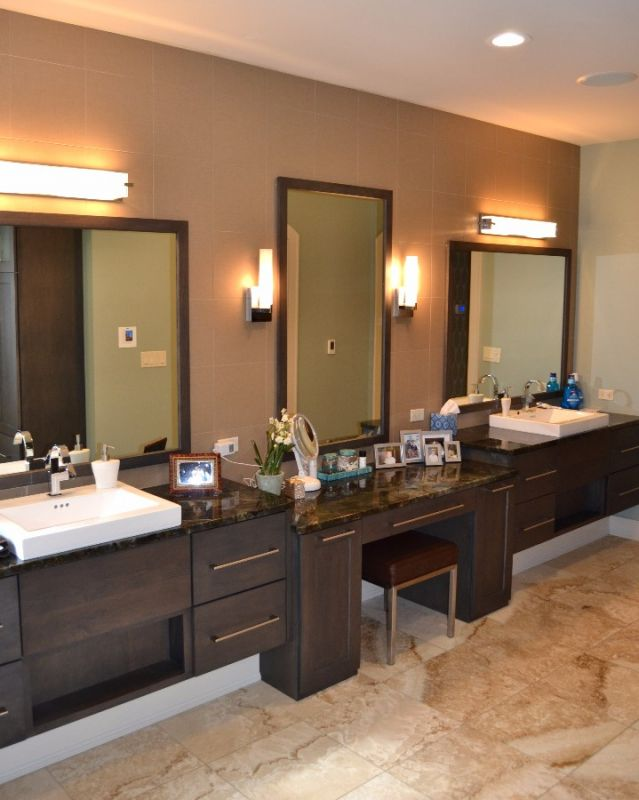 Custom designed bathrooms and bath remodels for Long bathroom vanity