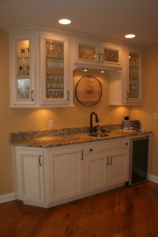 Wet Bar With Custom Glass Cabinets